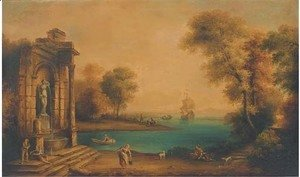A coastal landscape with shipping and figures by a classical fountain