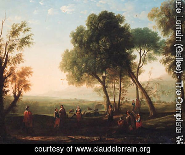 Claude Lorrain (Gellee) - An Italianate river landscape with figures dancing in a glade