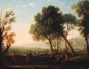 An Italianate river landscape with figures dancing in a glade