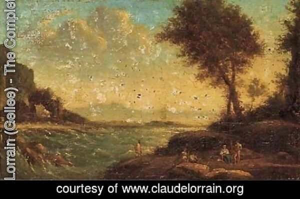 Claude Lorrain (Gellee) - Figures resting by the shore
