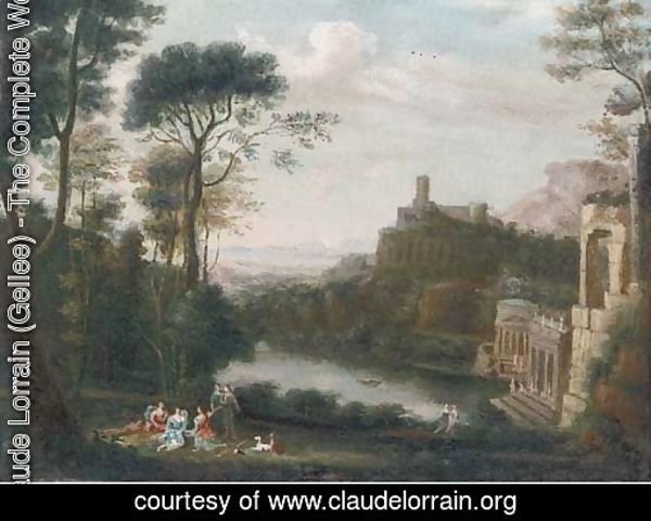 A classical landscape with figures above a lake