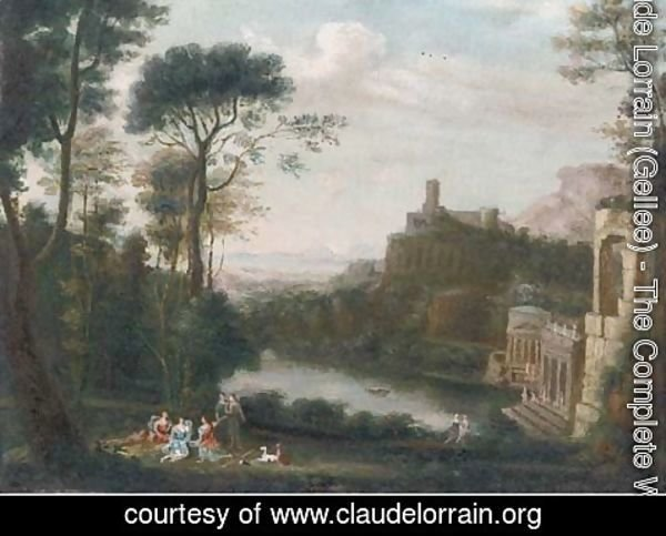 Claude Lorrain (Gellee) - A classical landscape with figures above a lake