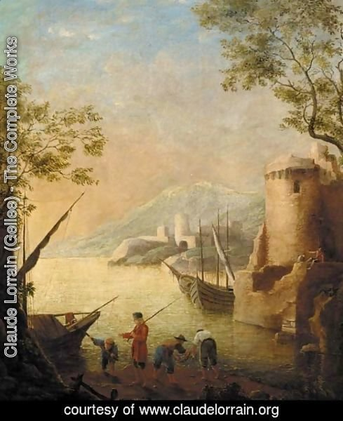 Claude Lorrain (Gellee) - A harbour at sunset with fishermen by the shore