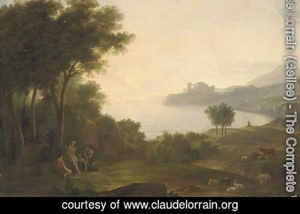 A Mediterranean coastal inlet with classical figures playing music, a fortress in the distance