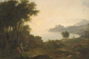 Claude Lorrain (Gellee) - A Mediterranean coastal inlet with classical figures playing music, a fortress in the distance