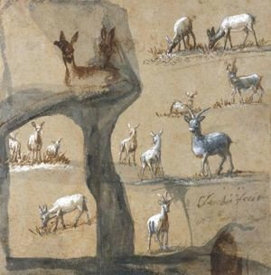 Claude Lorrain (Gellee) - A Sheet Of Studies Of Deer