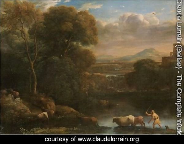 An Italianate Landscape With A Drover And His Dog Driving His Cattle Across A Ford, A Waterfall Beyond