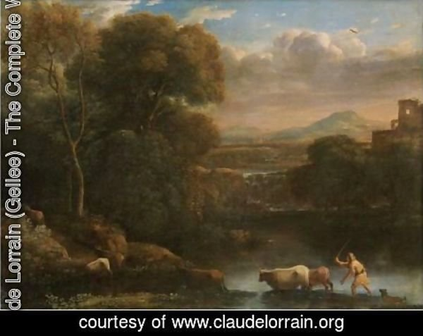Claude Lorrain (Gellee) - An Italianate Landscape With A Drover And His Dog Driving His Cattle Across A Ford, A Waterfall Beyond
