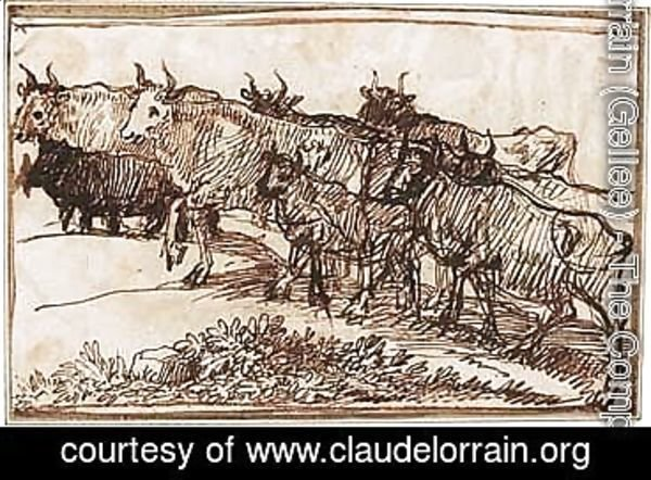 Claude Lorrain (Gellee) - Cattle Ascending A Track Towards The Left