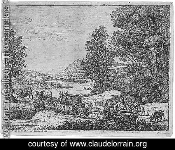 Claude Lorrain (Gellee) - Shepherd and shepherdess conversing in a landscape