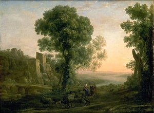 Claude Lorrain (Gellee) - Landscape with Peasants Returning with Their Herds