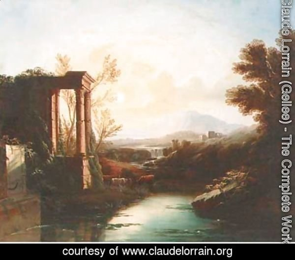 An Italianate landscape with a shepherd and cattle by classical ruins
