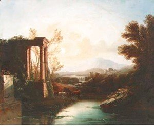 Claude Lorrain (Gellee) - An Italianate landscape with a shepherd and cattle by classical ruins