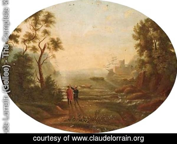 Claude Lorrain (Gellee) - A Mediterranean inlet with shipping by a fort, figures in the foreground