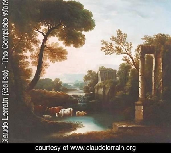 An Italianate landscape with classical ruins