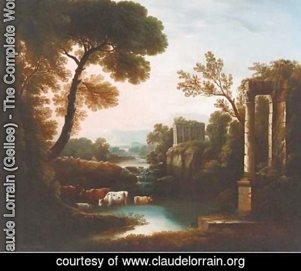 Claude Lorrain (Gellee) - An Italianate landscape with classical ruins