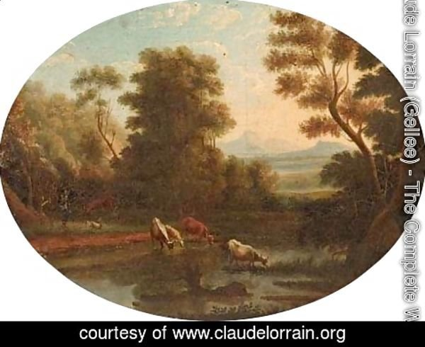 Claude Lorrain (Gellee) - A Landscape with cattle at a river