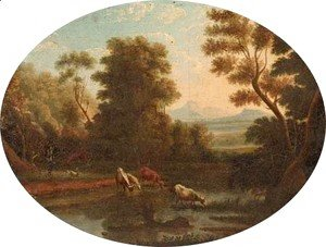 A Landscape with cattle at a river