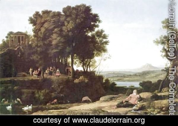 Claude Lorrain (Gellee) - Landscape with Apollo, the Muses and a river god