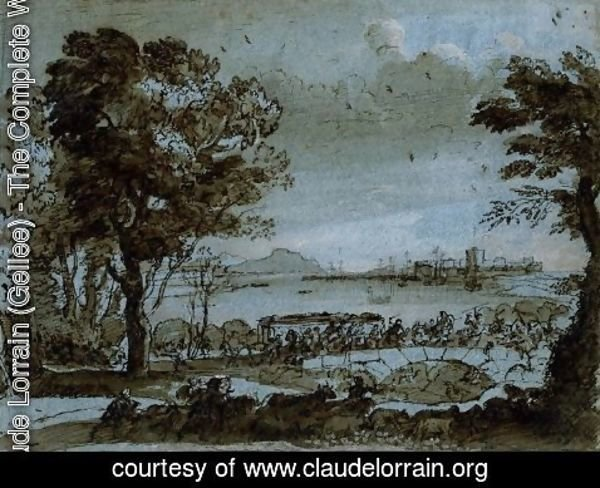 Claude Lorrain (Gellee) - Coast scene with a battle on a bridge