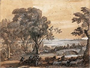 Claude Lorrain (Gellee) - Coast scene with a battle on a bridge 2