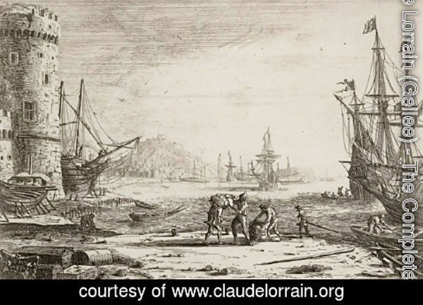 Claude Lorrain (Gellee) - Seaport with a big tower