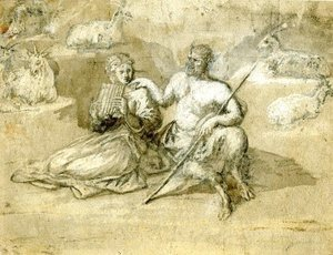 Drawing of a satyr, a girl and goats
