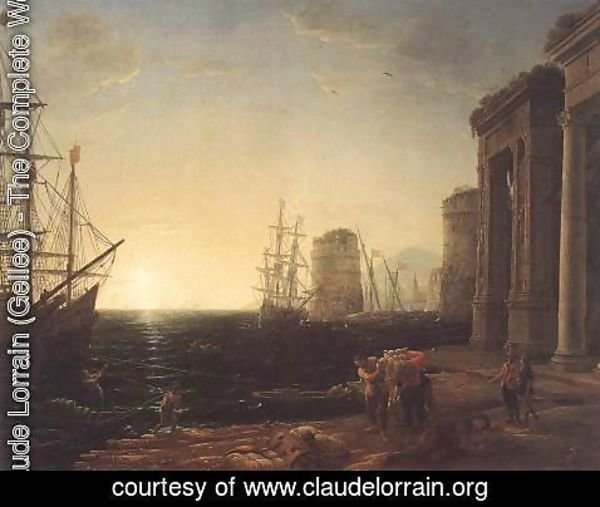Claude Lorrain (Gellee) - Harbour Scene at Sunset 1643
