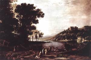 Claude Lorrain (Gellee) - Landscape with Merchants c. 1630