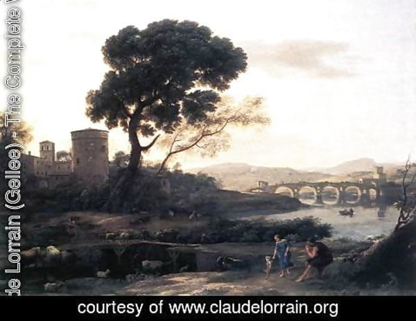 Claude Lorrain (Gellee) - Landscape with Shepherds - The Pont Molle 1645