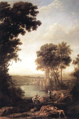 Claude Lorrain (Gellee) - Landscape with the Finding of Moses 1637-39