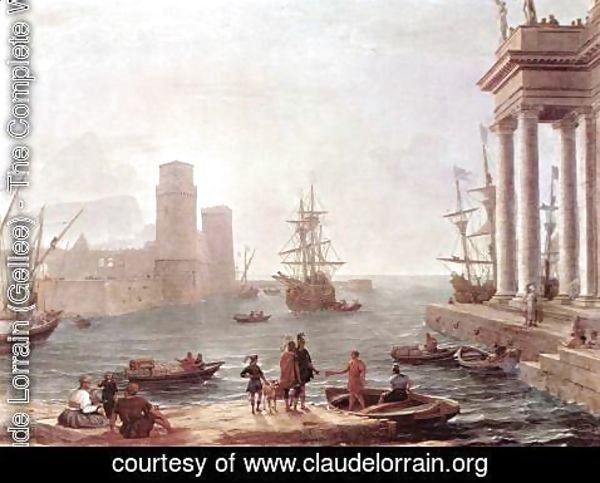 Claude Lorrain (Gellee) - Port Scene with the Departure of Ulysses from the Land of the Feaci 1646