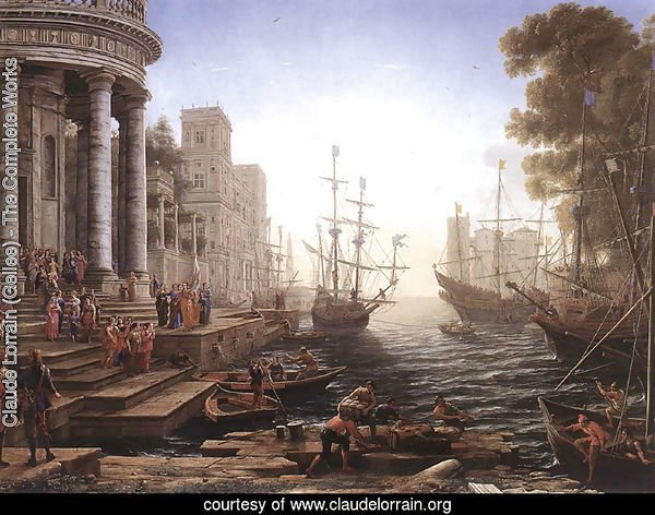 Port Scene with the Embarkation of St Ursula 1641