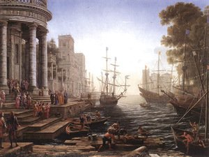 Claude Lorrain (Gellee) - Port Scene with the Embarkation of St Ursula 1641