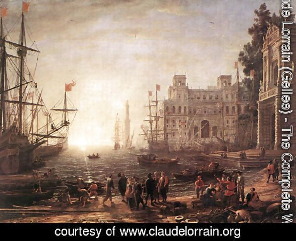 Claude Lorrain (Gellee) - Port Scene with the Villa Medici 1637