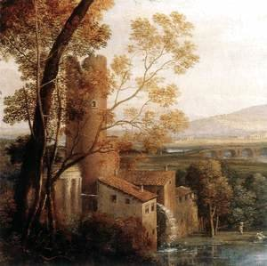 Claude Lorrain (Gellee) - Landscape with Dancing Figures (detail) 1648