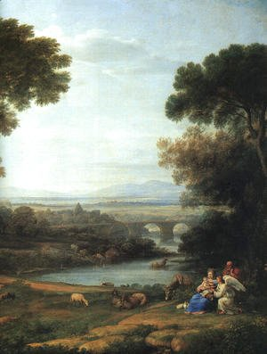 Claude Lorrain (Gellee) - Landscape with the Rest on the Flight into Egypt (detail) 1666