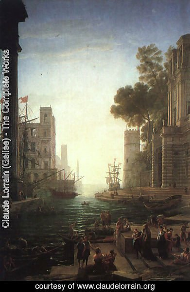 Claude Lorrain (Gellee) - Landscape with the Embarkation of Saint Paula Romana at Ostia  1639